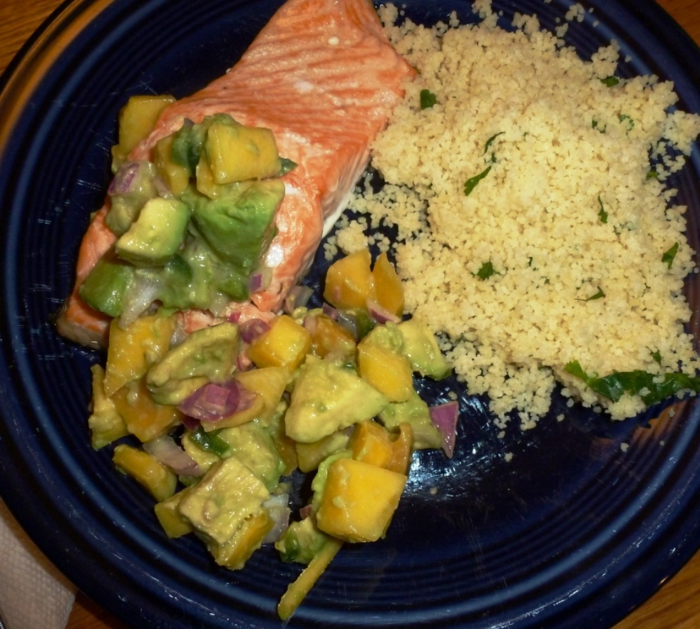 Salmon with Avocado Mango Salsa